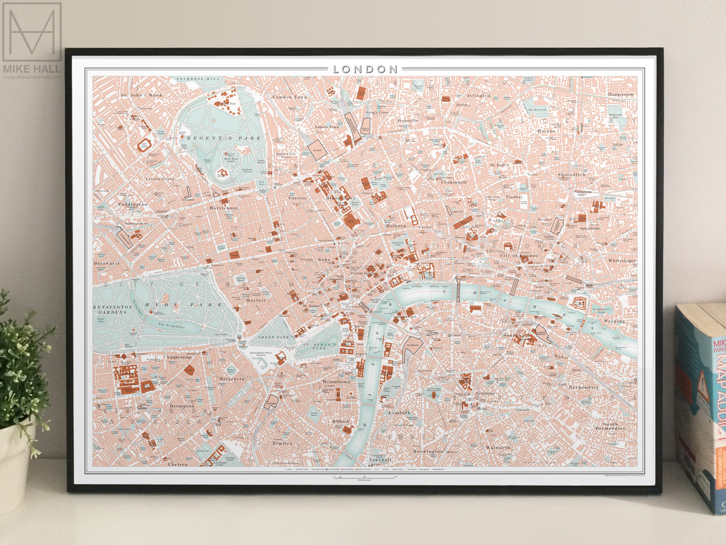 London, UK city map giclee print (70 x 50 cm)