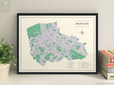 Merton (London borough) retro map giclee print