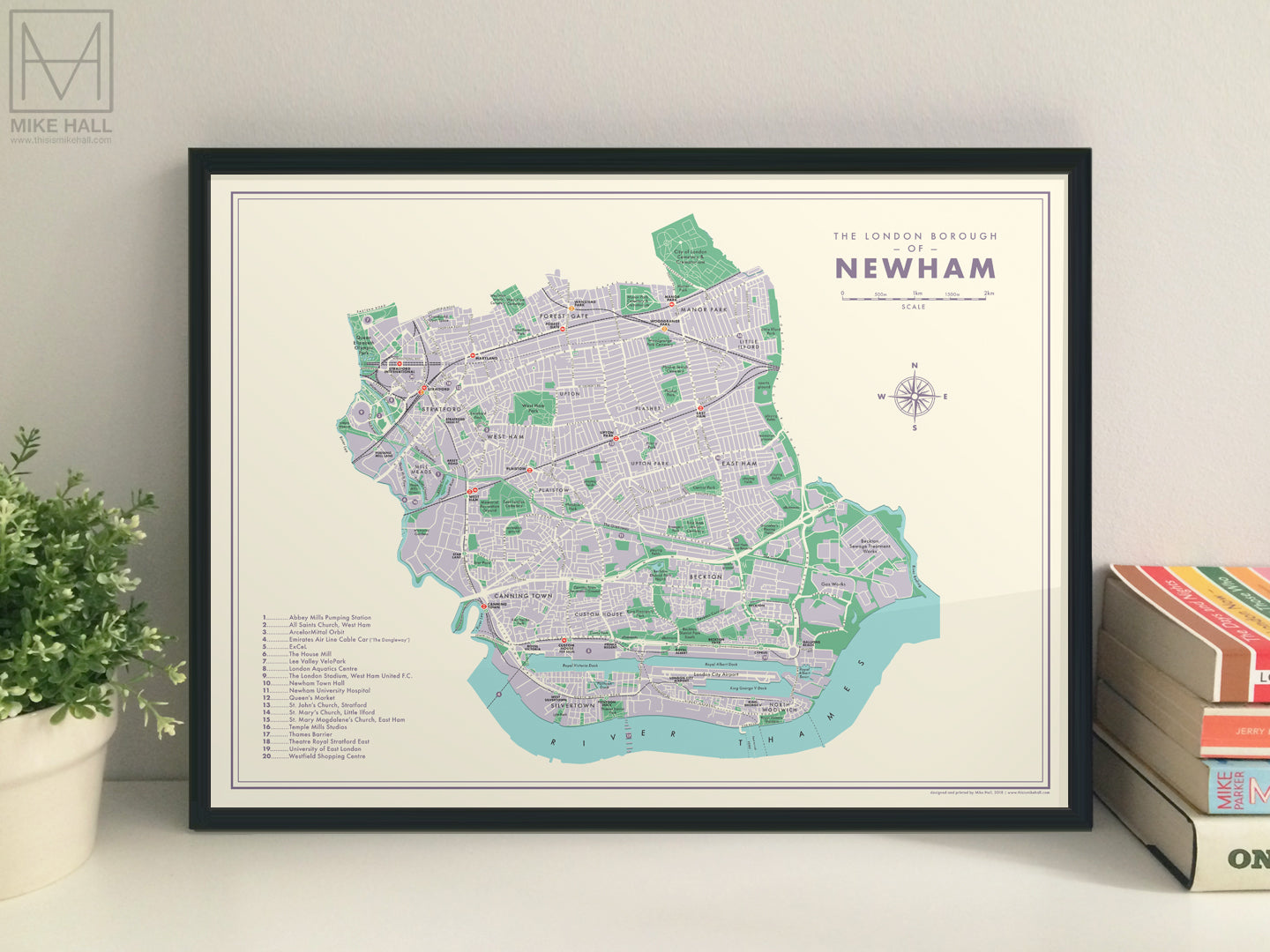 Newham (London borough) retro map giclee print