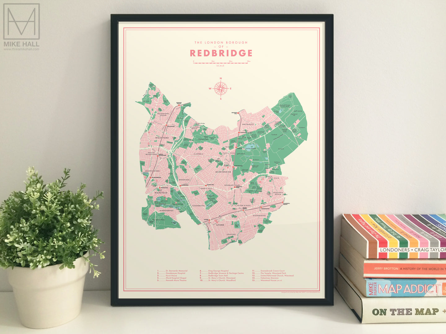 Redbridge (London borough) retro map giclee print