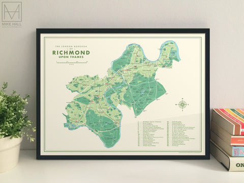 Richmond upon Thames (London borough) retro map giclee print