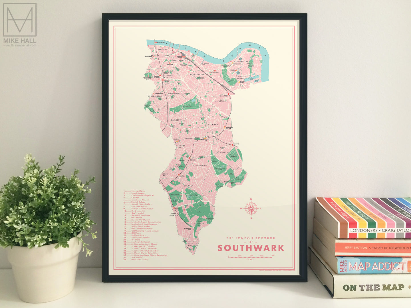 Southwark (London borough) retro map giclee print