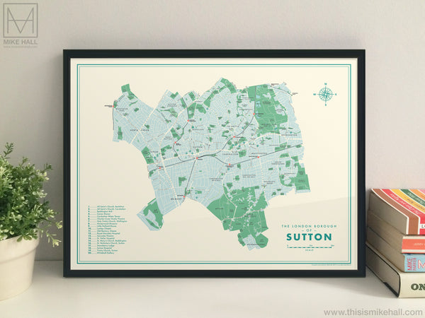 Sutton (London borough) retro map giclee print