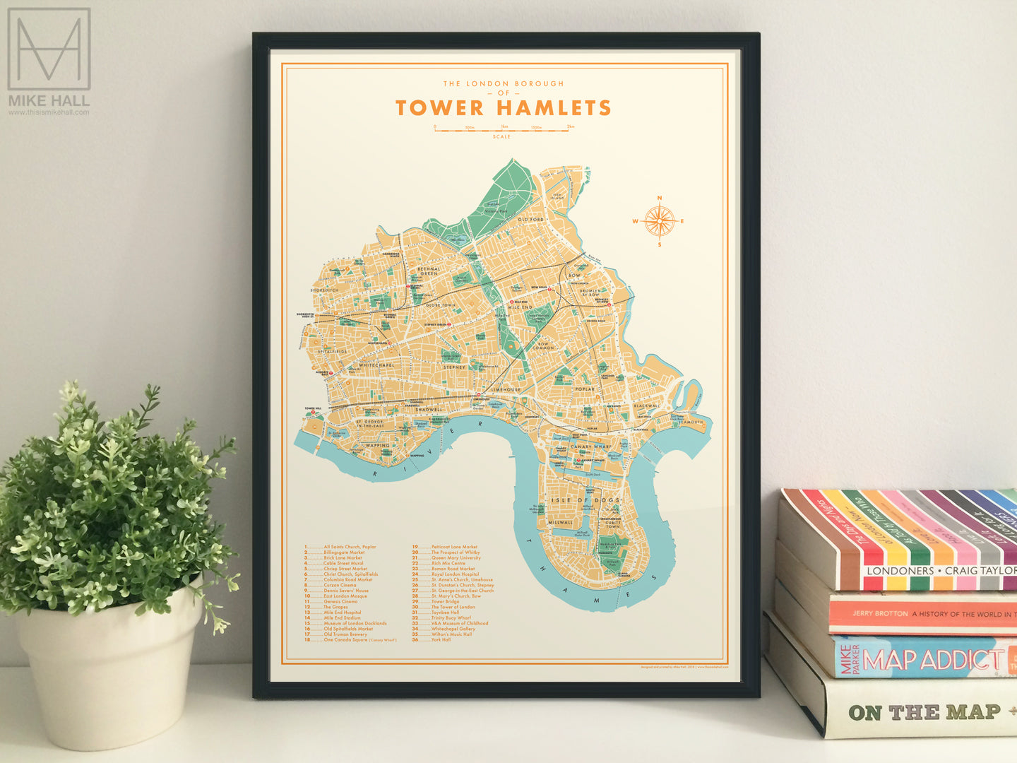 Tower Hamlets (London borough) retro map giclee print
