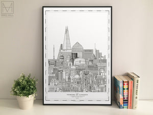 The Towers of London giclee print