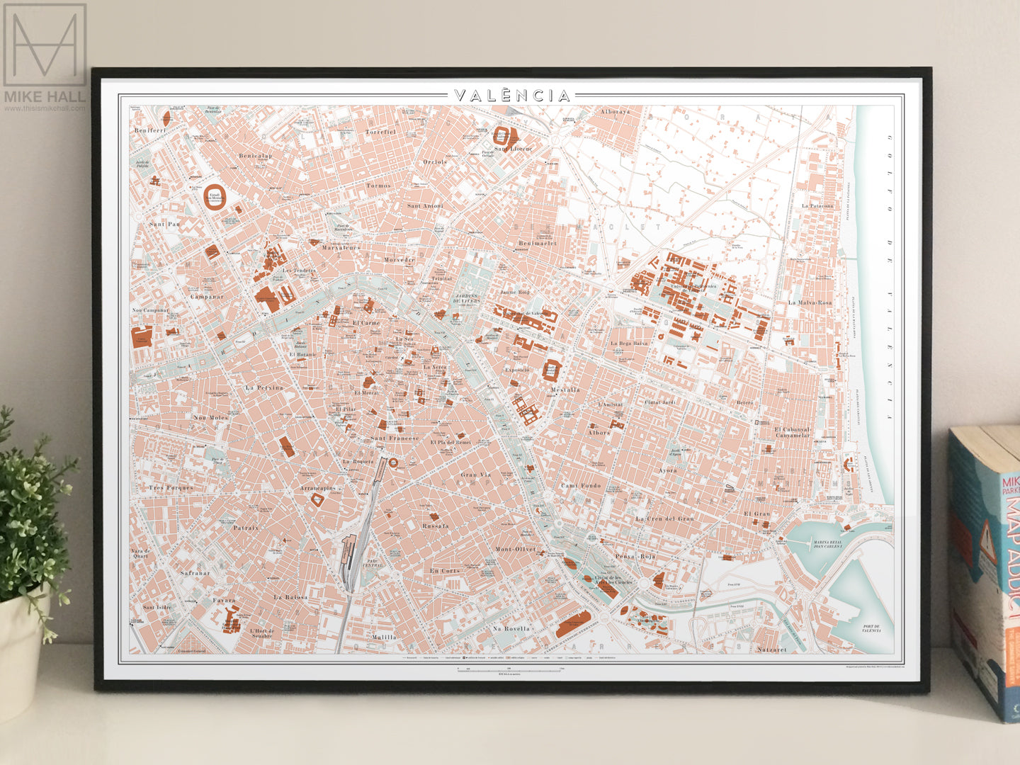 Valencia Spain city map giclee print Mike Hall maps illustration