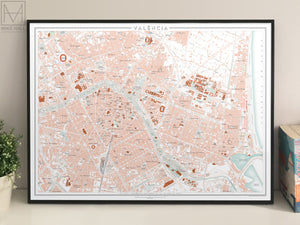 Valencia, Spain city map giclee print