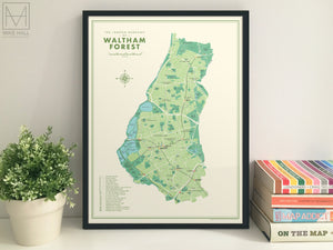 Waltham Forest (London borough) retro map giclee print