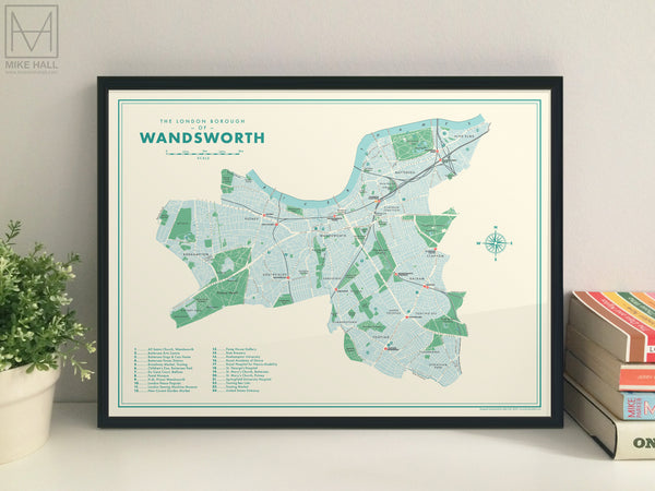 Wandsworth (London borough) retro map giclee print