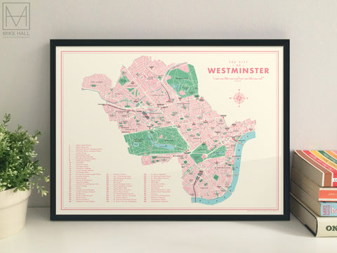 Westminster (London borough) retro map giclee print