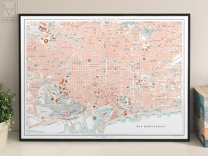 Barcelona, Spain city map giclee print (70 x 50 cm)