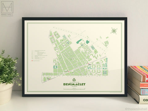 Benimaclet, Valencia illustrated map giclee print