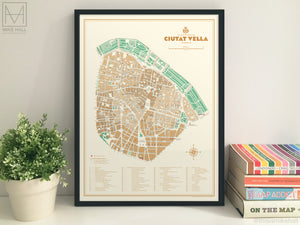Ciutat Vella, Valencia illustrated map giclee print