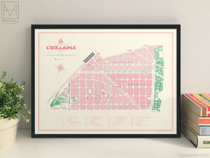 L'Eixample, Valencia illustrated map giclee print