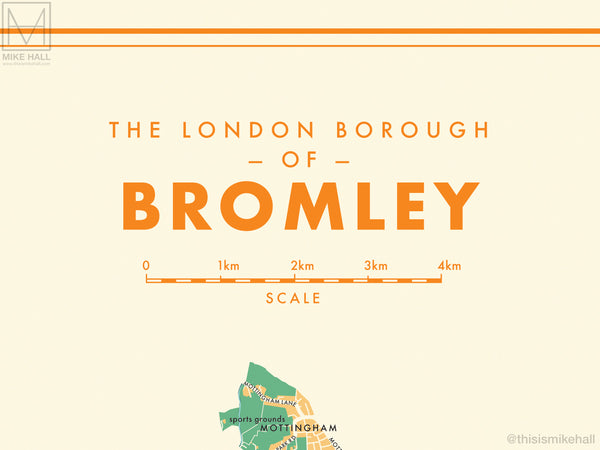 Bromley (London borough) retro map giclee print