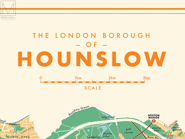 Hounslow (London borough) retro map giclee print