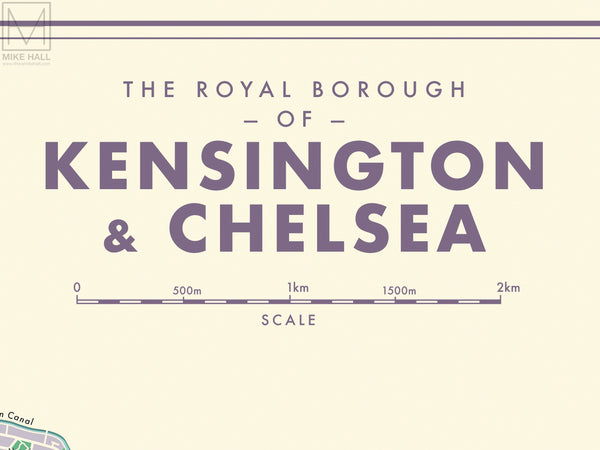 Kensington & Chelsea (London borough) retro map giclee print