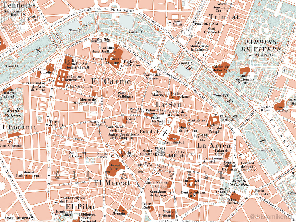 Map Of Spain For Printing.Valencia Spain City Map Giclee Print 70 X 50 Cm Mike Hall Maps