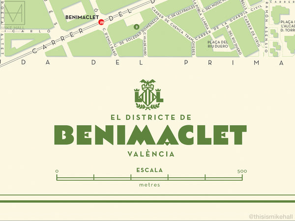 Benimaclet, Valencia map giclee print