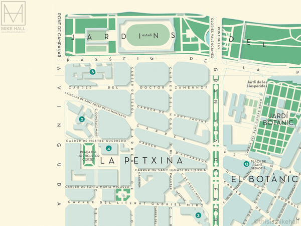 Extramurs, Valencia map giclee print