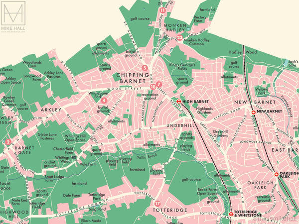 Barnet (London borough) retro map giclee print
