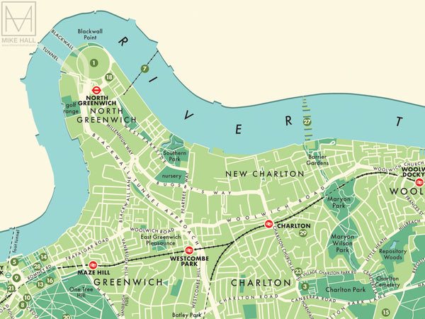 Greenwich (London borough) retro map giclee print