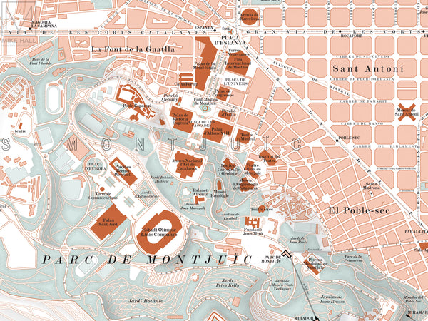 Barcelona, Spain city map giclee print