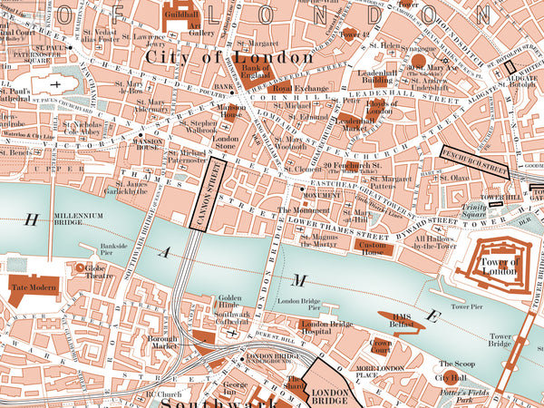London, UK city map giclee print