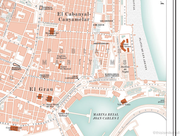 Valencia, Spain city map giclee print (70 x 50 cm)