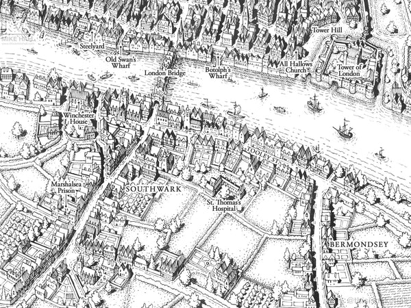 Thomas More's London (black and white version)