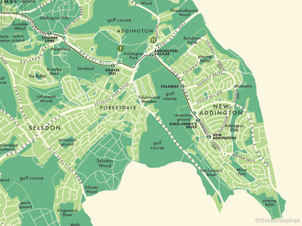Croydon (London borough) retro map giclee print