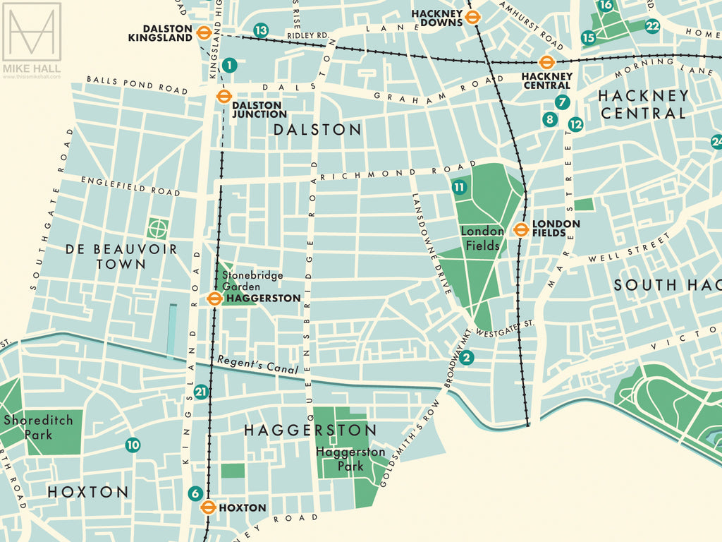 Map Of Central London To Print.Hackney London Borough Retro Map Giclee Print Mike Hall Maps