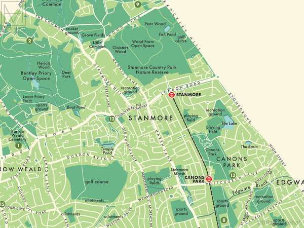 Harrow (London borough) retro map giclee print
