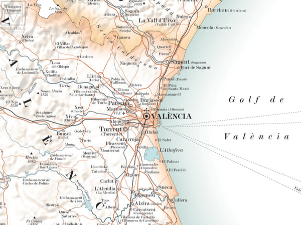 Valencian Community map giclee print
