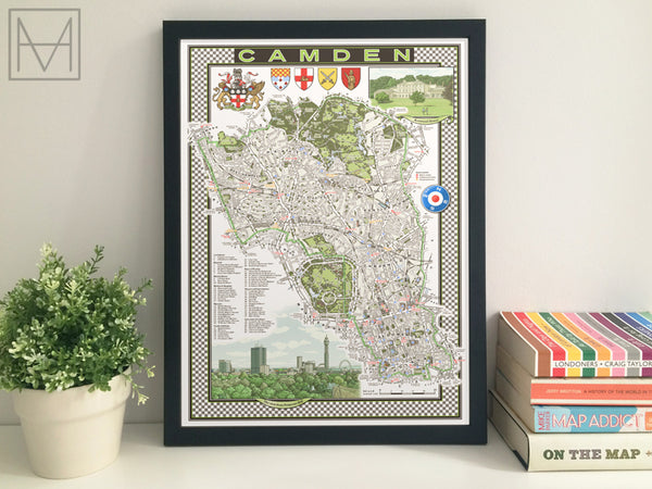 Camden (London borough) illustrated map giclee print