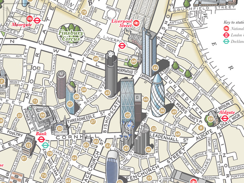 Map Of The City Of London.City Of London Illustrated Map Giclee Print
