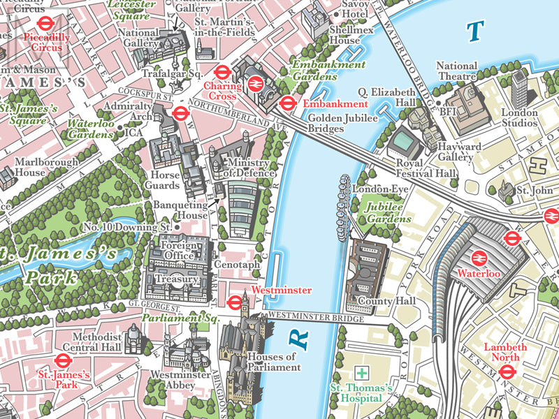 Map Of Central London To Print.London Illustrated Map Giclee Print