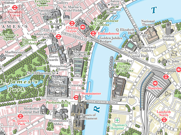 London illustrated map giclee print