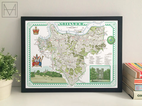 Greenwich (London borough) illustrated map giclee print