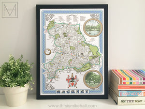 Hackney (London borough) illustrated map giclee print
