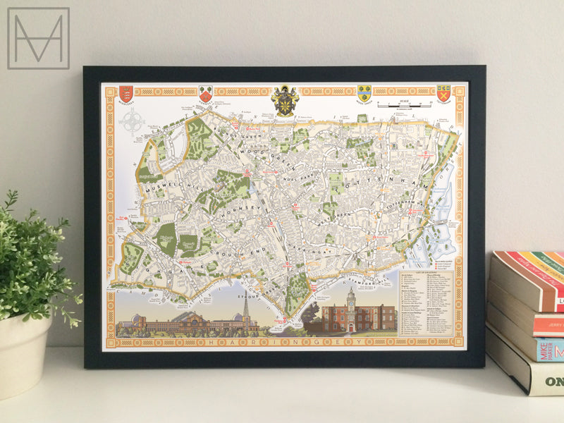 Haringey (London borough) illustrated map giclee print