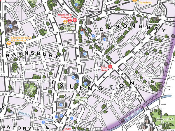 Islington (London borough) illustrated map giclee print