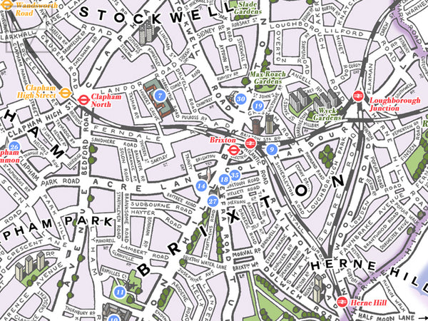 Lambeth (London borough) illustrated map giclee print