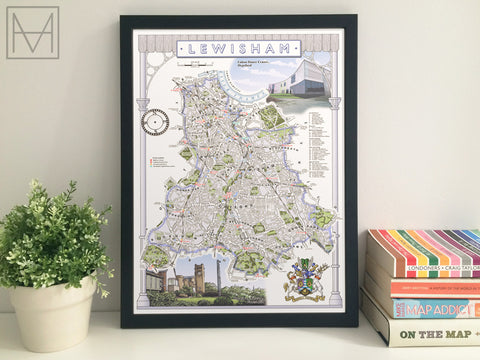 Lewisham (London borough) illustrated map giclee print