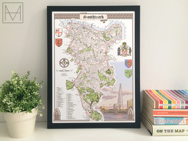 Southwark (London borough) illustrated map giclee print