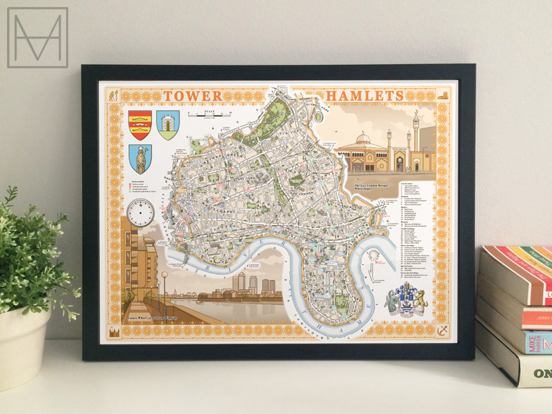 Tower Hamlets (London borough) illustrated map giclee print