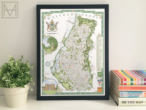 Waltham Forest (London borough) illustrated map giclee print