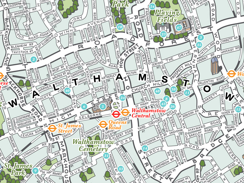 London City Map Printable.Waltham Forest London Borough Illustrated Map Giclee Print
