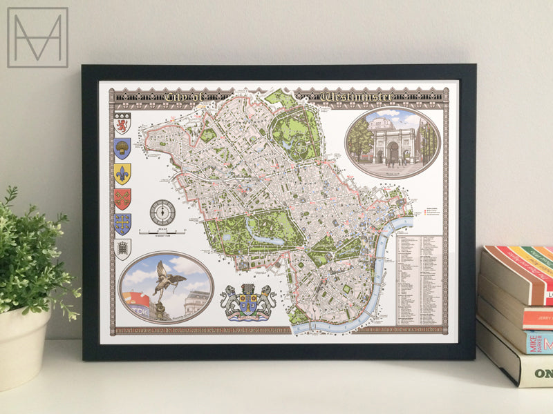 Westminster (London borough) illustrated map giclee print