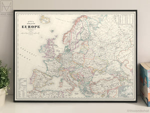Europe, antique-style map giclee print